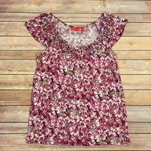 Elle Pink Floral Shirt, Size M